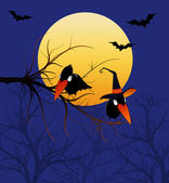 Halloween Ravens in a Tree — Stock Photo