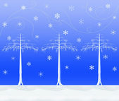 Three Snowy Trees — Stock Photo