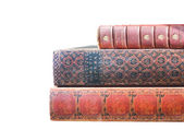 Antique Leatherbound Books Isolated on White — Stockfoto