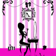 Silhouette of a Girl at her Vanity Table - Stock Photo