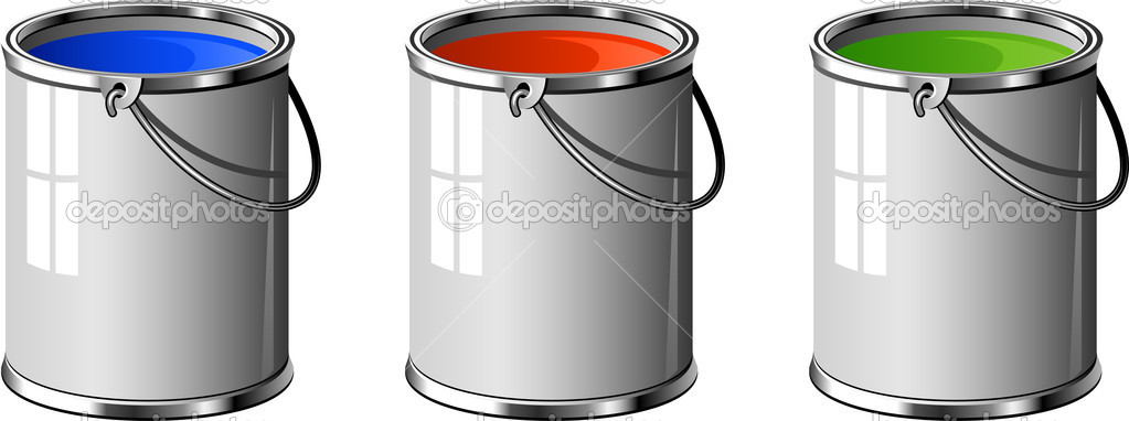 Three buckets of paint: blue, red, green. Over white. EPS 8, AI, JPEG — Stock Vector #3934073