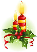 Christmas candles and holly — Stock Vector