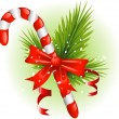 Christmas candy cane decorated with pine branches and a bow - Stock Vector