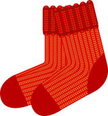 Red knit wool socks — Stock Vector