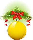 Yellow Christmas ball — Stock Vector