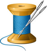 Spool of thread and needles — Stock Vector