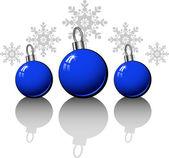 Vánoční designové prvky s modrými kuličkami — Stock vektor