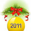 Yellow Christmas ball 2011 — Stock Vector