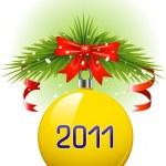 Yellow Christmas ball 2011 — Stock Vector #4332376