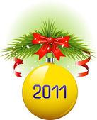 Yellow Christmas ball 2011 — Stock Vector