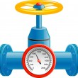 Gas pipe valve and pressure meter - Stockvektor