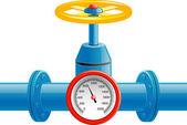 Gas pijp klep en druk meter — Stockvector