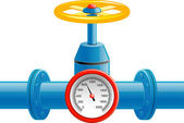 Gas pipe valve and pressure meter — Stock vektor