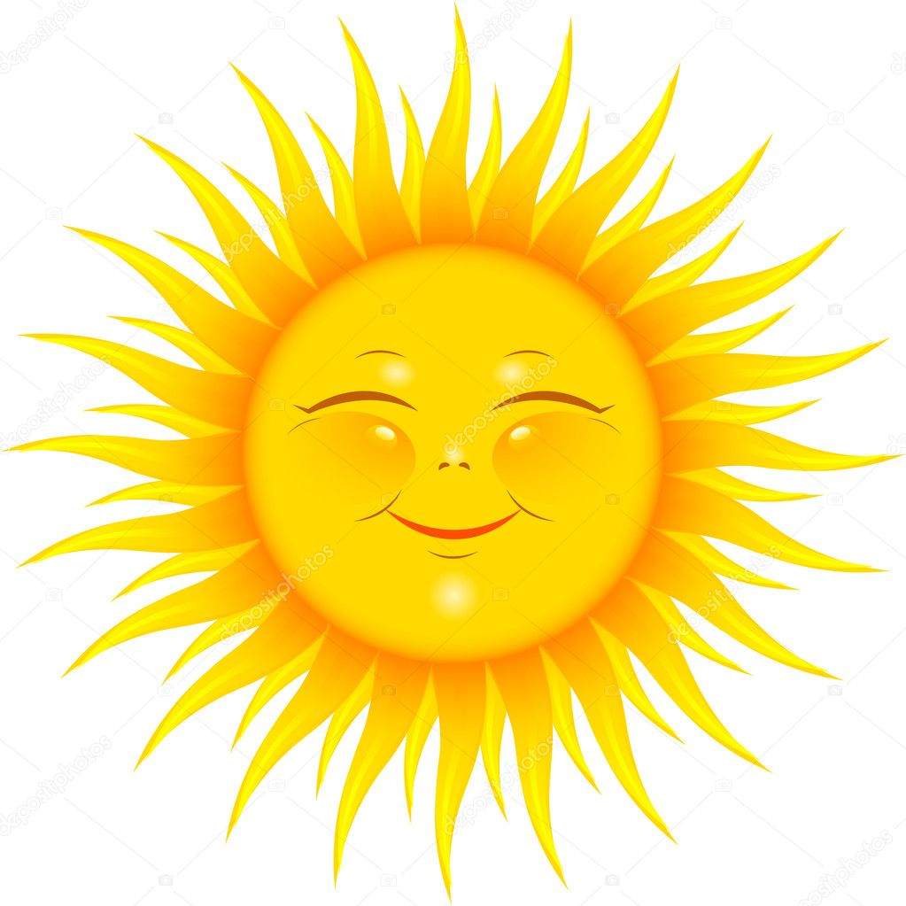 Vector Smiling Sun over white. EPS 8, AI, JPEG — Stock Vector #4988412