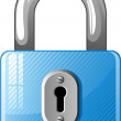 Blue Padlock icon — Stock Vector