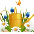 Garden watering can with flowers — Stock Vector