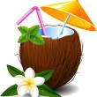 Exotic coconut cocktail — Vector de stock  #5146938