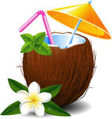 Exotic coconut cocktail — Vector de stock