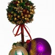 The festive tree and glass balls — Stock Photo