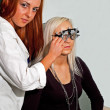 Young woman examining the eyesight — Stock Photo