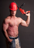 Muscular construction worker — Stock Photo