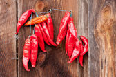 Red Chili Peppers hanging — Stock Photo