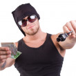 Gangster shoot with gun — Stock Photo