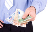 Euros in a hands — Stock Photo