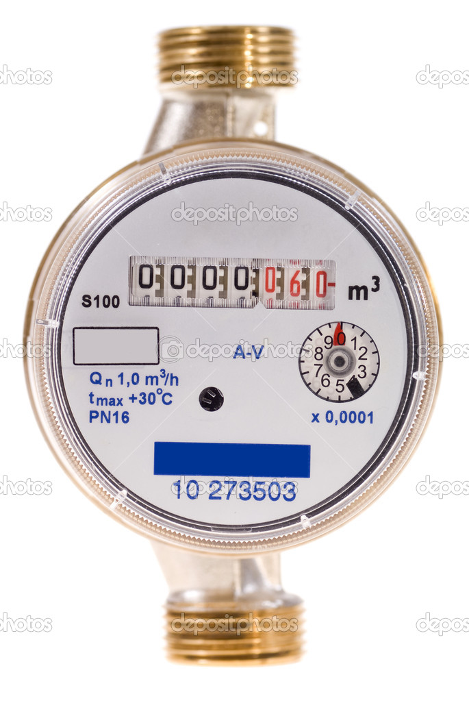 New water meter on white background — Stock Photo #4198245