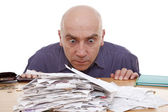 Man and receipts — Stock Photo