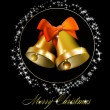 Christmas bells with bows on black background - Stockvektor