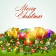 Merry christmas greeting card with gift boxes — 图库矢量图片