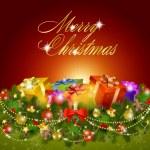 Merry christmas gratulationskort med presentförpackning — Stockvektor
