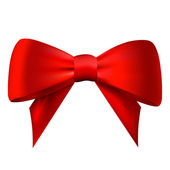 Realistic red bow isolated on white background — Stock Vector