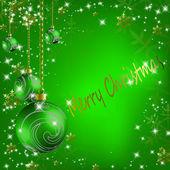 Julgranskulor med stjärnor och snöflingor abstrakt bakgrund — Stockvektor
