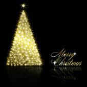 Golden Christmas tree on black background — Stock Vector