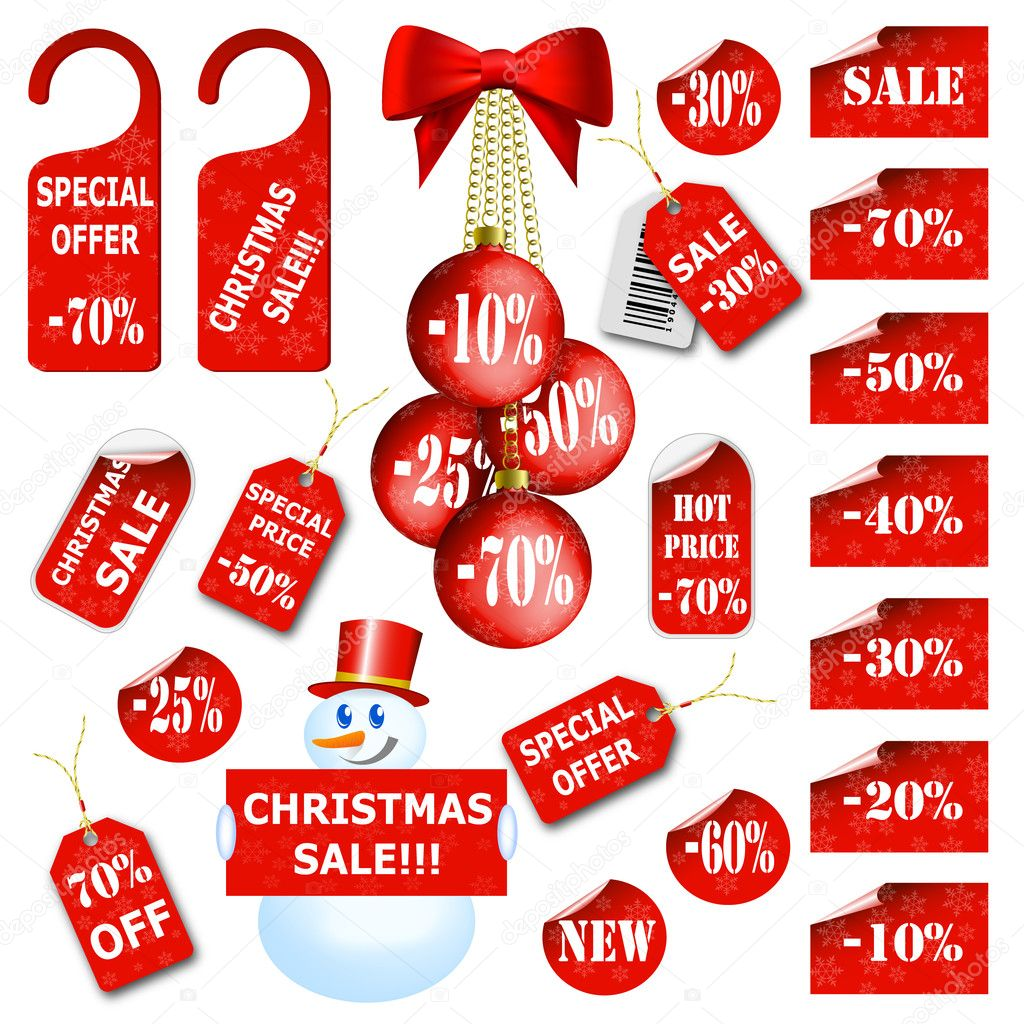 Set of christmas price tags and labels. Vector eps10 illustration — Stock Vector #4395502
