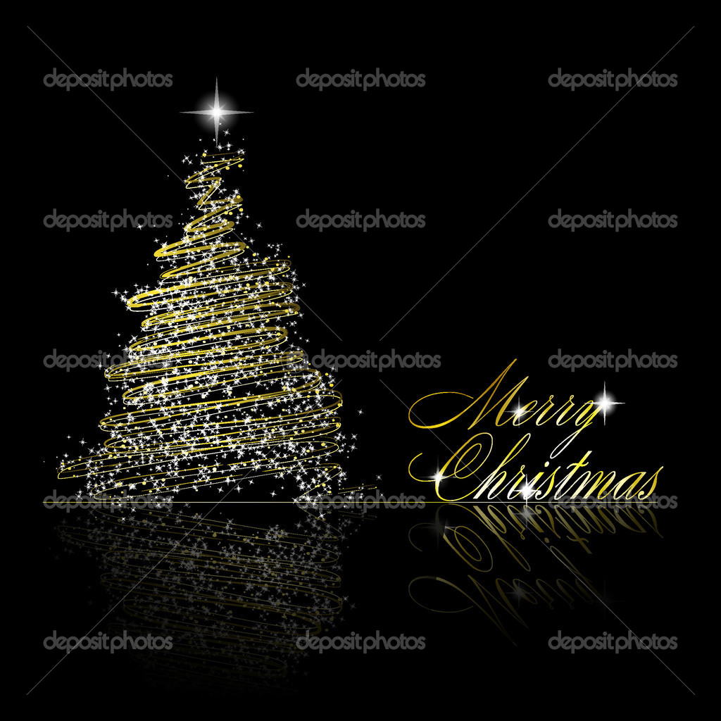 Golden Christmas  tree made of gold ribbons and stars on black background. Vector eps10 illustration — Stock Vector #4395504