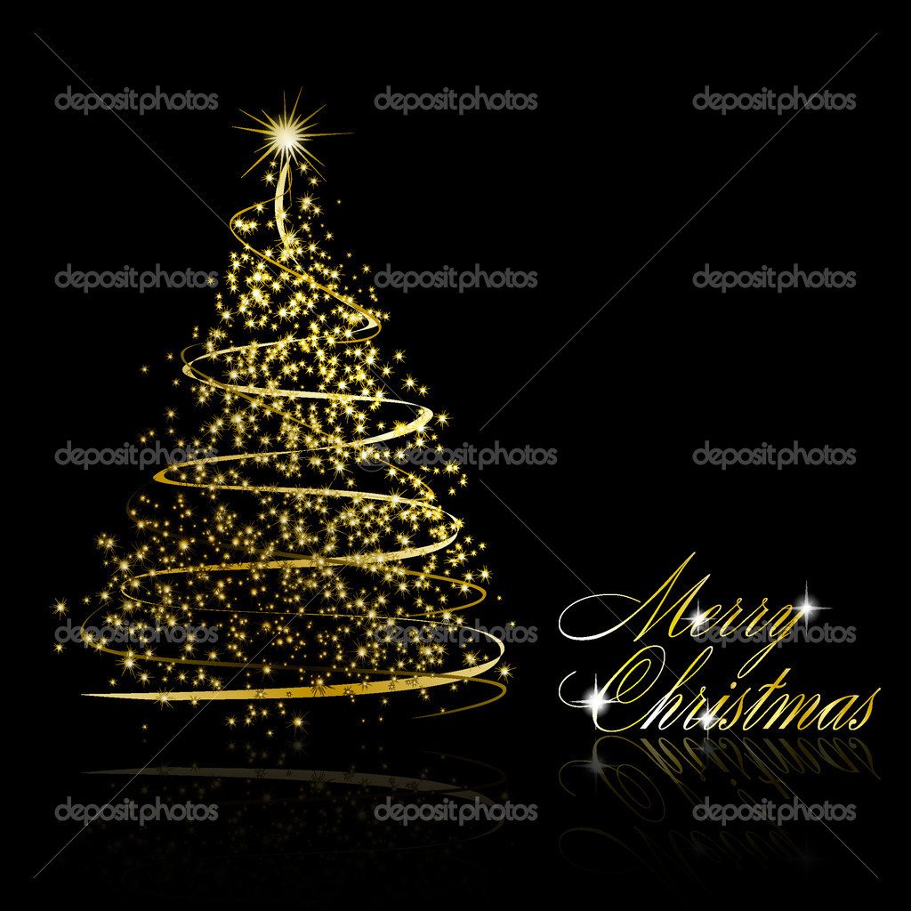 Abstract golden christmas tree on black background. Vector eps10 illustration — Stock Vector #4395553