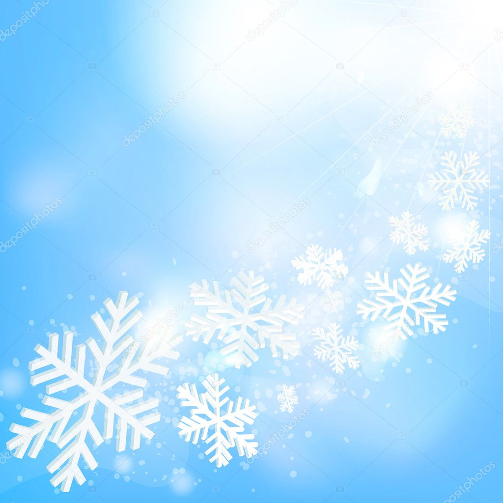 Abstract christmas background with snowflakes, sun and blue sky. Vector eps10 illustration — Stock Vector #4395674