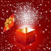 Resumen fondo rojo con caja de regalo y copos de nieve — Vector de stock