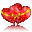 Vector de stock : Two red hearts with golden bow and ribbon on white background