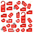 Set of red price tags and labels - Stock Vector