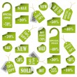 Stock Vector: Set of green price tags and labels