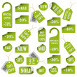 Set of green price tags and labels - Stock Vector