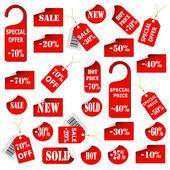 Set di etichette e cartellini rossi — Vettoriale Stock