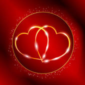 Red Valentine's day postcard with two golden hearts — Vecteur