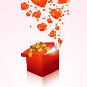 Valentine's day gift box with red hearts — Stock Vector