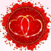Red Valentine's day greeting card with two golden hearts — Stock Vector