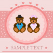 Stock Vector: Valentine bears greeting card